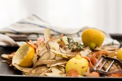 Fresh vegetable peels with peeler, knife and towel. Fresh vegetable scraps with peeler, knife and towel, house waste/compost management concept Royalty Free Stock Images