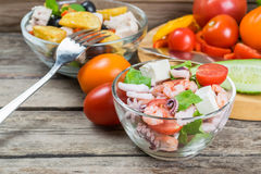 Fresh Vegetable and Seafood Salad Stock Photos