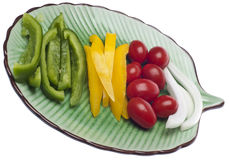 Fresh Vegetable Slices on a Plate Royalty Free Stock Image