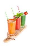 Fresh vegetable smoothie. Tomato, cucumber, carrot royalty free stock image