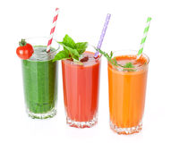 Fresh vegetable smoothie. Tomato, cucumber, carrot royalty free stock images
