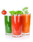 Fresh vegetable smoothie. Tomato, cucumber, carrot Stock Photo
