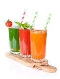 Fresh vegetable smoothie. Tomato, cucumber, carrot royalty free stock photos