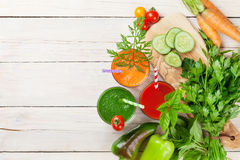 Fresh vegetable smoothie. Tomato, cucumber, carrot Royalty Free Stock Photography