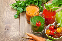 Fresh vegetable smoothie. Tomato, cucumber, carrot Royalty Free Stock Image