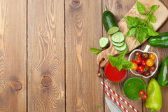 Fresh vegetable smoothie. Tomato and cucumber Stock Photography