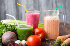 Fresh vegetable smoothies Royalty Free Stock Images