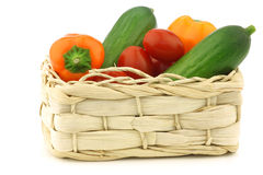 Fresh vegetable snacks in a woven basket Royalty Free Stock Photo
