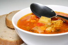 Fresh vegetable soup. With bread stock images