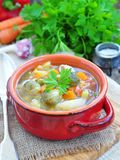 Fresh vegetable soup with bean, carrot, potato, tomato in bowl Royalty Free Stock Photos