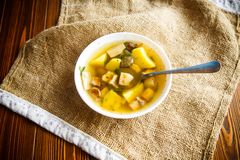 Fresh vegetable soup with forest mushrooms Royalty Free Stock Photo