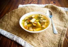 Fresh vegetable soup with forest mushrooms Stock Image