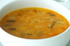 Fresh vegetable soup. Made of green bean, carrot, potato, red bell pepper, tomato in bowl Stock Photos