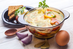 Fresh Vegetable Soup With Noodles In A Pot On White Royalty Free Stock Images