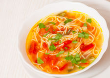 Fresh vegetable soup with noodles Royalty Free Stock Photo