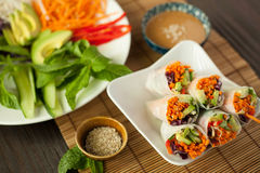 Fresh Vegetable Spring Rolls Royalty Free Stock Photography