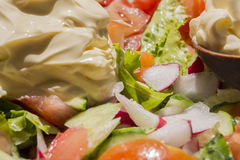 Fresh vegetable spring salad with mayonnaise. In wooden spoon Royalty Free Stock Photos