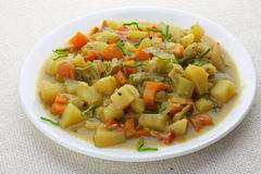 Fresh vegetable stew. Made of green bean, carrot, potato, red bell pepper, tomato in bowl Stock Photos