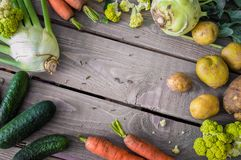 Fresh vegetable on the table for food preparation royalty free stock photography