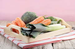 Fresh vegetable on a tray. Organic vegetable, carrot, broccoli, leek on a tray Stock Image