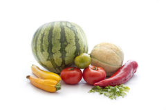 Fresh vegetable on white. Stack of fresh summer vegetable siolated on white background Royalty Free Stock Photos