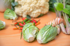 Fresh vegetable on wood table Royalty Free Stock Images