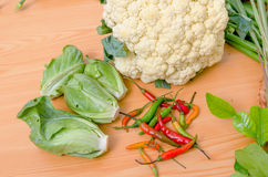 Fresh vegetable on wood table Stock Images