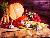 Fresh vegetable on wooden boards. Royalty Free Stock Image