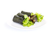 Fresh vegetable wrapped with seaweed sheet Royalty Free Stock Photos