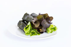 Fresh vegetable wrapped with seaweed sheet Royalty Free Stock Images
