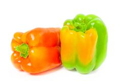 Fresh vegetable. Yellow peppers on white background. Fresh vegetable. Yellow peppers isolated on white background royalty free stock photo