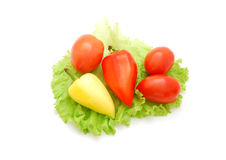 Fresh vegetables. Fresh pepper, tomatoes and lettuce isolated on a white background Royalty Free Stock Image