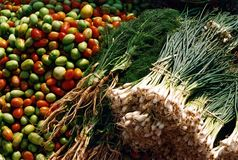 Fresh vegetables. In a market in central Burma Royalty Free Stock Images