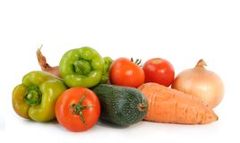 Fresh vegetables. Groop of fresh colorful vegetables on white background Stock Photos