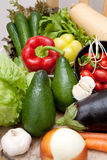 Fresh vegetables. On wooden table Royalty Free Stock Photography