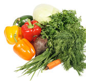 Fresh vegetables. On the white background, texture Stock Photo