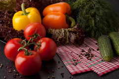 Fresh vegetables. Three red tomatoes,cucumbers ,orange and  yellow peppers and lettuce on  plaid tablecloth Stock Image