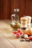 Fresh vegetables. Food ingredients on the oak table closeup shot Royalty Free Stock Photography