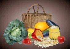 Fresh vegetables. Garden fresh vegetables and basket Stock Photos