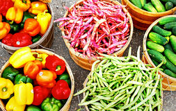Fresh Vegetables. An image of several fresh baskets of vegetables at a market Royalty Free Stock Image