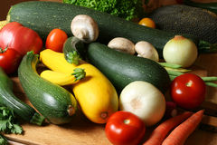 Fresh vegetables. Fresh raw natural vegetables on wooden board Stock Photography