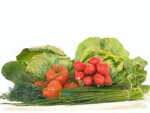 Fresh vegetables. Composition of fresh vegetables isolated on white Stock Photography