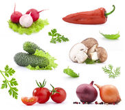 Fresh vegetables. Collection of fresh vegetables, isolated on white background Stock Photo