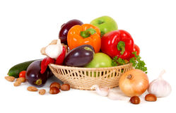Fresh Vegetables. On a white royalty free stock image