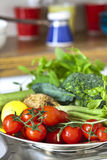 Fresh vegetables. On kitchen table stock photography