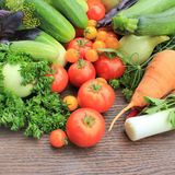 Fresh vegetables. Group of fresh vegetables  lying on the table Stock Image