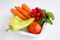 Fresh vegetables. Of the seasons: radishes, peppers, carrot and tomato royalty free stock photography