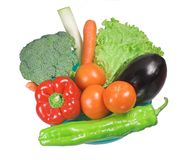 Fresh vegetables. Green cauliflower, lettuce, carrot, tomato, pepper, leek royalty free stock photography