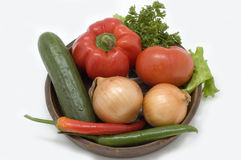 Fresh vegetables. Fresh vegetables in a basket on a white background Royalty Free Stock Photos