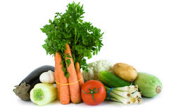 Fresh vegetables. Variety of produce on white background stock photography
